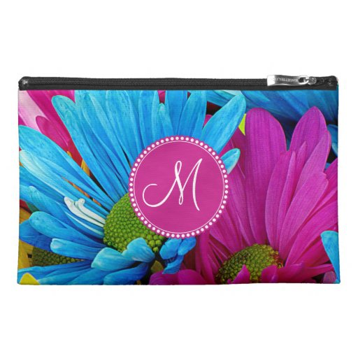 Monogram Hot Pink Teal Blue Gerber Daisies Flowers Travel Accessory Bag