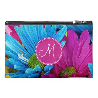 Monogram Hot Pink Teal Blue Gerber Daisies Flowers Travel Accessory Bag