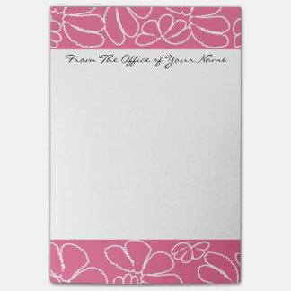 Monogram Hot Pink Whimsical Ikat Floral Pattern Post-it Notes