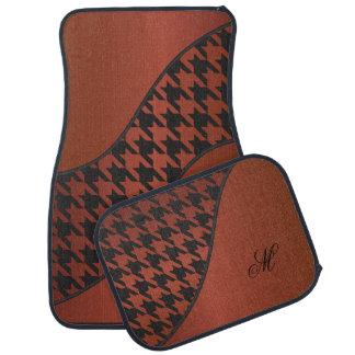 Monogram Houndstooth Pattern | Bronze Car Mat