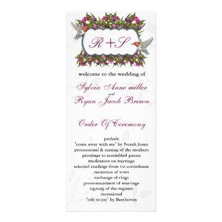 MONOGRAM humming birds Wedding program Rack Card Template