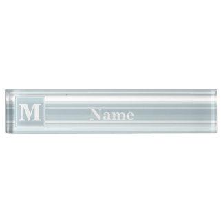 Monogram ice blue stripes nameplate