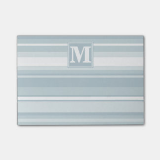 Monogram ice blue stripes post-it® notes