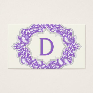 Monogram in a frame with purple, white paisley business card