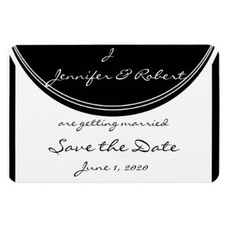 Monogram in Black and White Save the Date Rectangular Photo Magnet