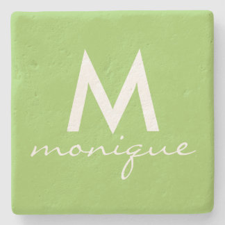 Monogram in Lime Green and White Stone Coaster