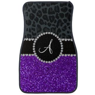 Monogram indigo purple glitter dark gray leopard car mat