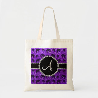Monogram indigo purple glitter elephants tote bag