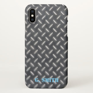 Monogram. Industrial Metal Plate. iPhone X Case
