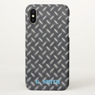 Monogram. Industrial Metal Plate. iPhone X Case