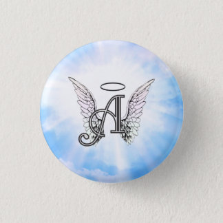 Monogram Initial A, Angel Wings & Halo w/ Clouds 1 Inch Round Button