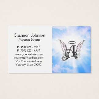 Monogram Initial A, Angel Wings & Halo w/ Clouds Business Card