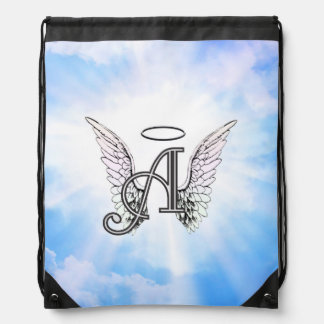 Monogram Initial A, Angel Wings & Halo w/ Clouds Drawstring Bag