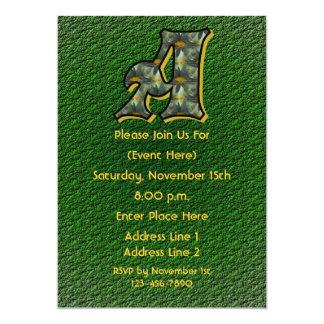 Monogram Initial A Black Daisies Green Party Invit 5x7 Paper Invitation Card