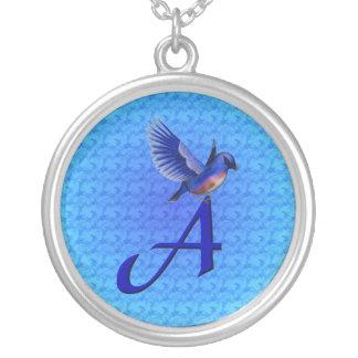 Monogram Initial A Bluebird Necklace
