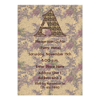 Monogram Initial A Elegant Floral Party Invite