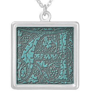 Monogram Initial A Square Pendant Necklace