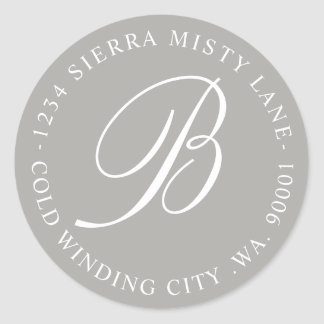 Monogram Initial Address or Wedding Grey Classic Round Sticker