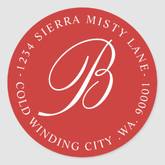 Monogram Initial Address or Wedding Red Classic Round Sticker