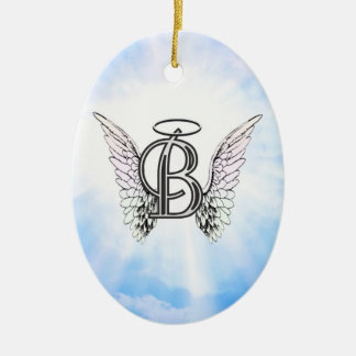 Monogram initial B alphabet letter with angel wing Ceramic Ornament