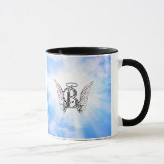 Monogram initial B alphabet letter with angel wing Mug