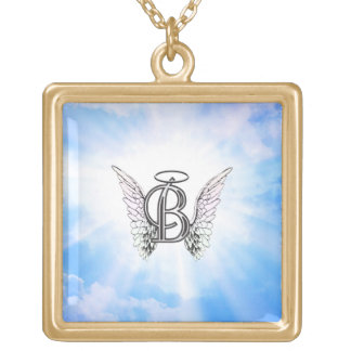 Monogram initial B alphabet letter with angel wing Square Pendant Necklace