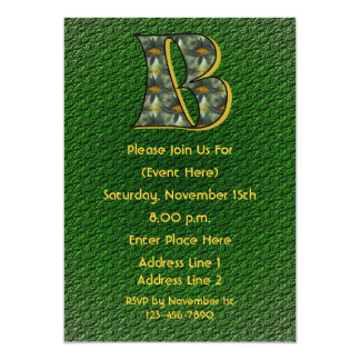 Monogram Initial B Daisies Green Party Invite