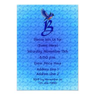 Monogram Initial B Elegant Bluebird Invite