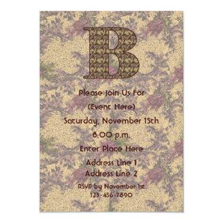 Monogram Initial B Elegant Floral Invite