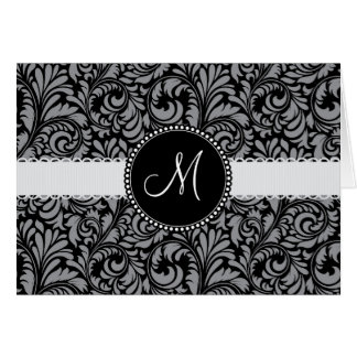 Monogram Initial Black Gray Damask Floral Pattern Card