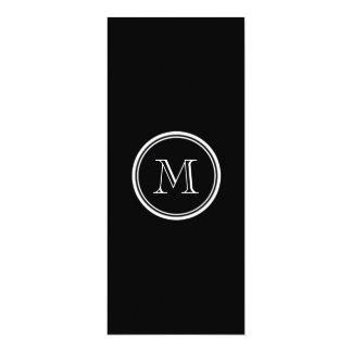 "Monogram Initial Black High End Colored 4"" X 9.25"" Invitation Card"
