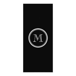 Monogram Initial Black High End Colored 4x9.25 Paper Invitation Card