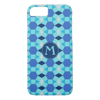 Monogram initial blue tiles tessellation iPhone 8/7 case