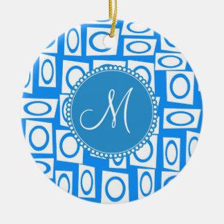 Monogram Initial Blue White Circle Square Pattern Christmas Tree Ornaments