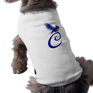Monogram Initial C Elegant Bluebird Dog Shirt
