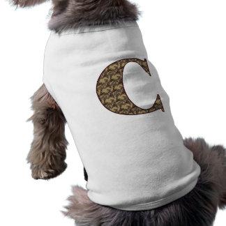 Monogram Initial C Elegant Floral Dog Shirt