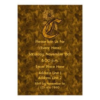 Monogram Initial C Gold Peony Party Invite