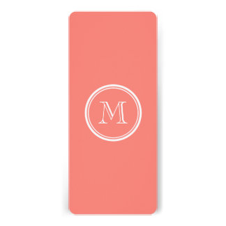 Monogram Initial Coral Pink High End Colored Custom Invite