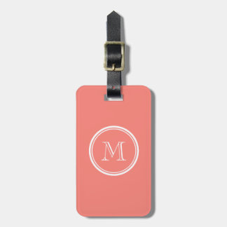 Monogram Initial Coral Pink High End Colored Luggage Tag
