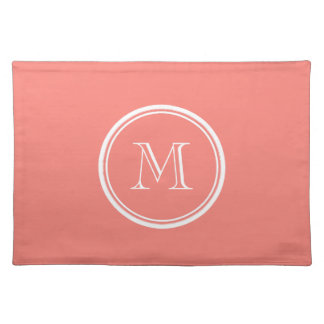 Monogram Initial Coral Pink High End Colored Place Mats