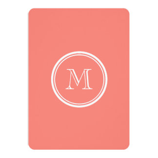 "Monogram Initial Coral Pink High End Coloured 5"" X 7"" Invitation Card"