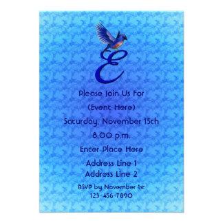 Monogram Initial E Elegant Bluebird Invite
