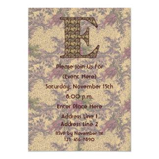 Monogram Initial E Elegant Floral Invite