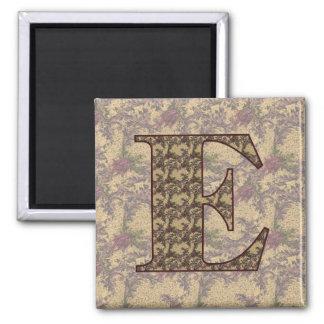 Monogram Initial E Elegant Floral Magnet