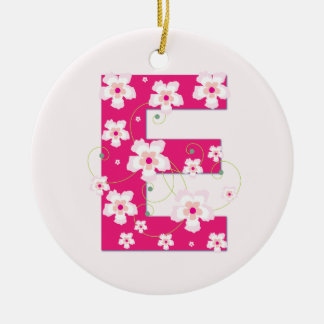 Monogram initial E pretty pink floral ornament