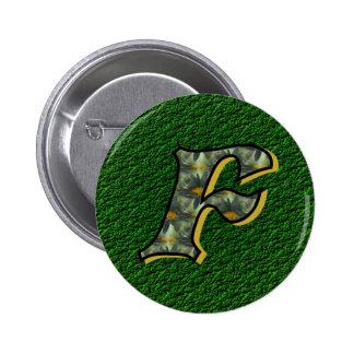 Monogram Initial F Black Daisies Button