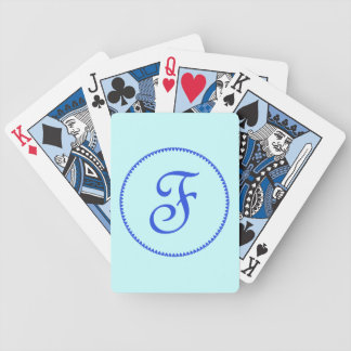 Monogram initial F blue hearts elegant stylish Bicycle Playing Cards