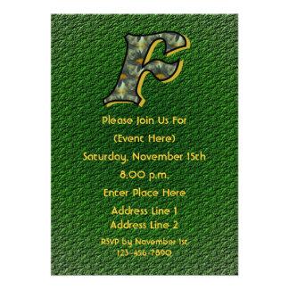 Monogram Initial F Daisies Green Floral Invite