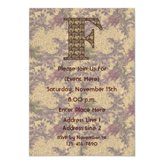 Monogram Initial F Elegant Floral Invite