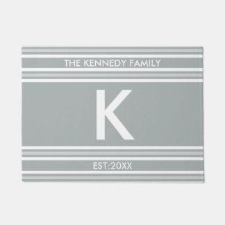 Monogram Initial Family Name Grey White Stripe Doormat